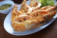 Shrimp grill in thailand. Shrimp grill and spicy sauce Stock Image