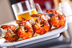 Shrimp grilled with beer Royalty Free Stock Image
