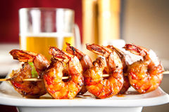 Shrimp grilled with beer stock images