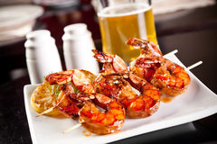 Shrimp grilled with beer Stock Photography