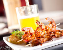 Shrimp grilled with beer stock image