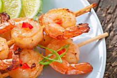 Shrimp grilled. In garlic and soy caramel stock image