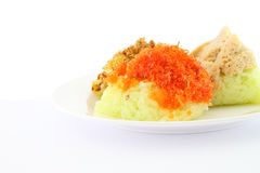 Shrimp grind and sugar on green sticky rice Royalty Free Stock Photos