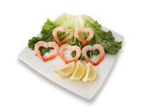 Shrimp Hearts Stock Photos