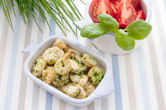 Shrimp and herbs Stock Photo