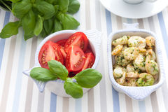 Shrimp and herbs Stock Image