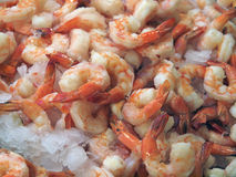 Shrimp on ice. Cooked tail-on shrimp on ice on farm market booth Stock Photo