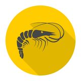 Shrimp icon with long shadow. Vector icon Stock Photo