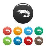 Shrimp icons set color vector illustration