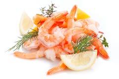 Shrimp isolated on white background with fresh lemon royalty free stock photo