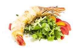 Shrimp. Jumbo shrimp with herbs and several types of tomatoes Royalty Free Stock Photography