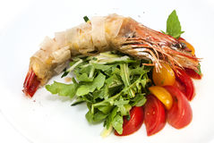 Shrimp. Jumbo shrimp with herbs and several types of tomatoes Stock Photos