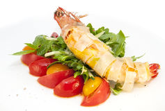 Shrimp. Jumbo shrimp with herbs and several types of tomatoes Royalty Free Stock Photo