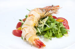 Shrimp. Jumbo shrimp with herbs and several types of tomatoes Stock Photography
