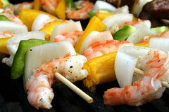Shrimp Kabobs Royalty Free Stock Photos