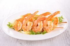 Shrimp kebab Stock Photo