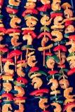 Shrimp kebabs, teriyaki, toned effect. Shrimp kebabs on baking, teriyaki, toned effect Stock Photos