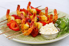 Shrimp Kebabs Royalty Free Stock Images