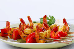 Shrimp Kebabs Stock Photography