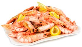 Shrimp with lemon Royalty Free Stock Photo