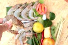 Shrimp and lemon, chilli, lemon grass, kaffir lime leaves for soup spicy Stock Images
