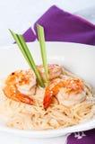 Shrimp in lemon grass cream pasta Stock Photography