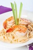 Shrimp in lemon grass cream pasta Royalty Free Stock Images