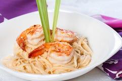 Shrimp in lemon grass cream pasta Royalty Free Stock Photography