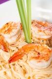 Shrimp in lemon grass cream pasta Stock Image