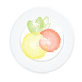 Shrimp, lemon and greens on a plate. Healthy food. Royalty Free Stock Image
