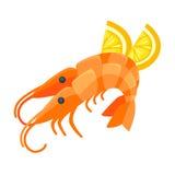 Shrimp with lemon illustration in cartoon style. Royalty Free Stock Photography