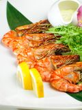 Shrimp with lemon. Royalty Free Stock Photos