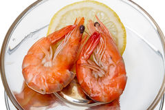 Shrimp with lemon Royalty Free Stock Photography