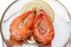 Shrimp with lemon Royalty Free Stock Photography
