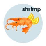 Shrimp with lemon. Red prawn. Royalty Free Stock Image
