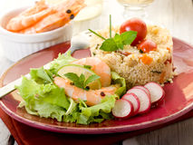 Shrimp with lettuce and couscous Royalty Free Stock Photos