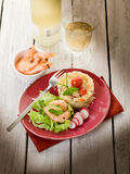 Shrimp with lettuce and couscous Royalty Free Stock Images