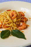 Shrimp linguine with bisque Stock Photo