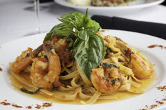 Shrimp and Linguine Fra Diavolo Topped with Fresh  Stock Photo