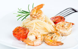 Shrimp Linguine with Pasta Royalty Free Stock Photography
