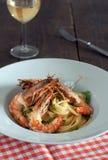 Shrimp linguine Royalty Free Stock Image