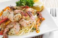 Shrimp and linguini. Made with basil, asparagus and bell peppers Royalty Free Stock Photo