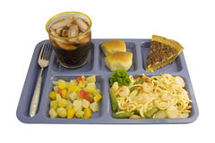 Shrimp Lo Mein. Cafeteria style Shrimp Lo Mein with fruit salad, soft roll, pecan pie, and beverage stock photo