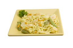 Shrimp lo mein on square plate Royalty Free Stock Photo