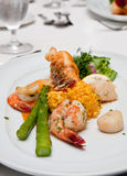 Shrimp and Lobster with Vegetables Royalty Free Stock Images