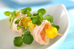 Shrimp Mango Avocado Watercress Snack Royalty Free Stock Photo