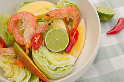 Shrimp and mango salad Stock Images