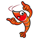 Shrimp mascot the direction of pointing with both hands Stock Images