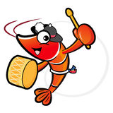 The Shrimp mascot playing the traditional music of Korea. Prawn Royalty Free Stock Image