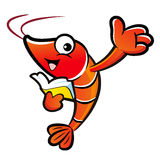 Shrimp mascot the right hand guides and the left hand is holding Stock Photography